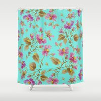 aelwen Shower Curtains featuring beach roses mint by Ariadne
