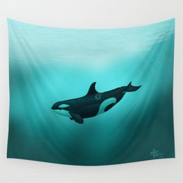 """""""Lost in Paradise"""" by Amber Marine ~ Killer Whale ~ Orca ~ Original Version ~ (Copyright 2015) Wall Tapestry"""