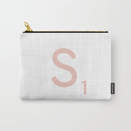 Pink Scrabble Letter S - Scrabble Tile Art and Accessories Carry-All Pouch