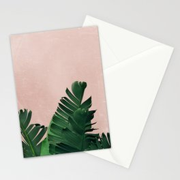 Banana Leaves on Pink Stationery Cards