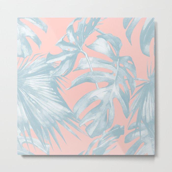 Island Love Pale Teal Blue on Millennial Pink Metal Print