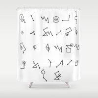 alphabet Shower Curtains featuring ALPHABET  by Mansken