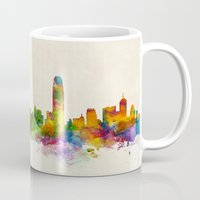 hong kong Mugs featuring Hong Kong Skyline by artPause
