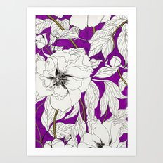 Purple Peonies Art Print