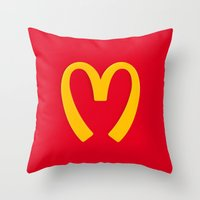 moschino Throw Pillows featuring Moschino McDonald's Inspired Logo by V.F.Store