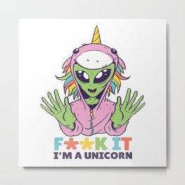 Alien unicorn Metal Print