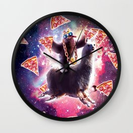 Thug Space Sloth On Llama Unicorn - Pizza Wall Clock