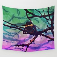birdy Wall Tapestries featuring African Bird and Branches Teal And Pink by minx267