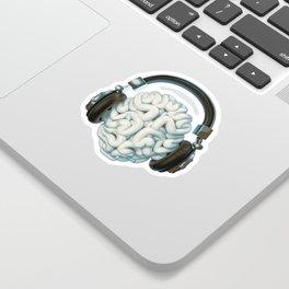 Mind Music Connection /3D render of human brain wearing headphones Sticker
