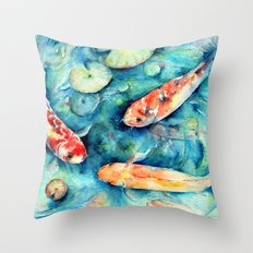 Watercolor Koi Fish in Lily Pond Impressionist  Throw Pillow