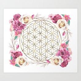 Flower of Life Rose Garden Gold Art Print