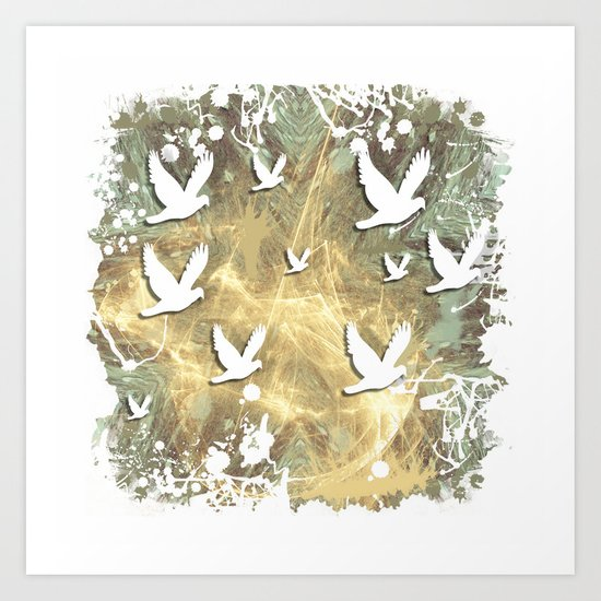 Birds on beige messy kaleidoscope Art Print