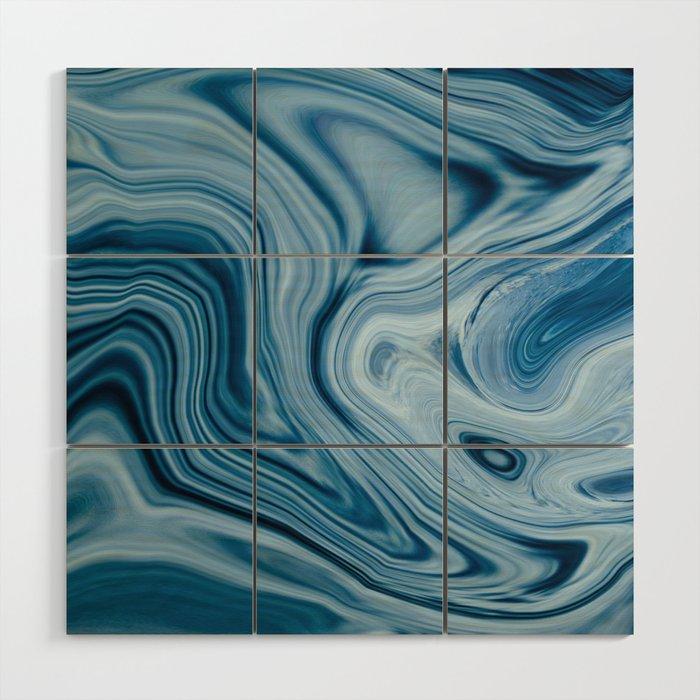 Splash of Blue Swirls, Digital Fluid Art Graphic Design Wood Wall Art