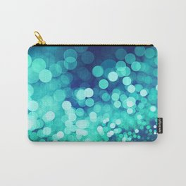 Aqua Blue Glitter Wave Carry-All Pouch