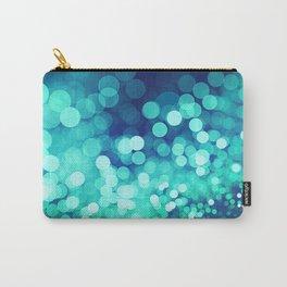 Aqua Blue Glitter Wave Carry-All Pouch