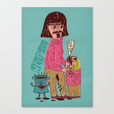 french father helps his son Canvas Print