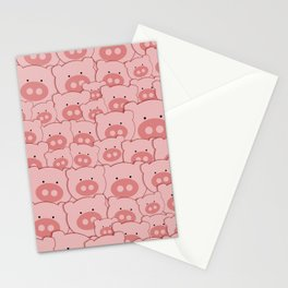 Pink Piggy Pigs Stationery Cards
