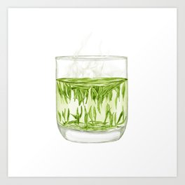 Watercolor Illustration of A glass of Chinese Maojian green tea Art Print