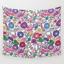 bold + beautiful hand drawn floral motifs Wall Tapestry