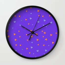 St. Valentine's Day Pattern. Lilac pattern, Violet and Orange hearts Wall Clock