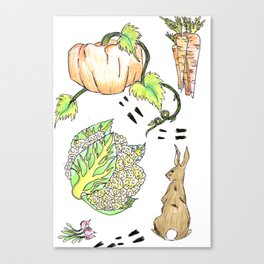 Bunny in The Veg Patch Canvas Print