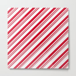 Red Candy Cane Stripes Metal Print