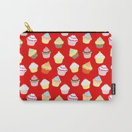 Dark Red Valentines Cup Cakes Carry-All Pouch