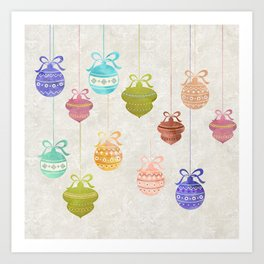 Colorful Watercolor Christmas Ornaments Art Print