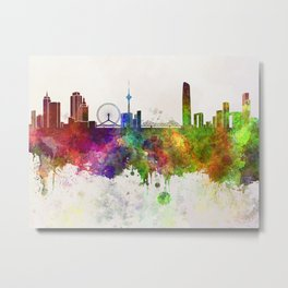 Tianjin skyline in watercolor background Metal Print
