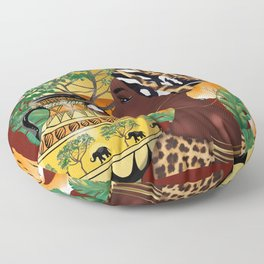 African woman,tiger,red background . Floor Pillow