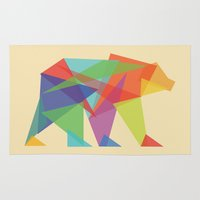 glitch Area & Throw Rugs featuring Fractal Geometric bear by Picomodi