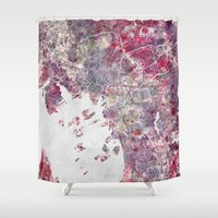 oslo Shower Curtains featuring Oslo Map by MapMapMaps.Watercolors