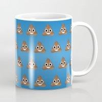 poop Mugs featuring Smiley Poop by Bryan Vogel