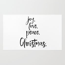 Joy.Love.Peace.Christmas. Typography Rug