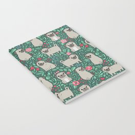 Pugs and summer flowers Notebook