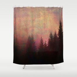 Repose, Abstract Landscape Trees Sky Shower Curtain