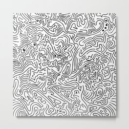 Abstract Digital Vector Black Ink Art Illustration Drawing Painting (P12 510) Metal Print