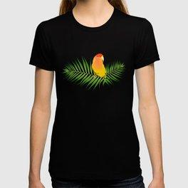 Lovebird Parrots in Green Palm Leaves on Black T-shirt
