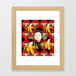 Kim Jong-un & monkeys & bananas Framed Art Print
