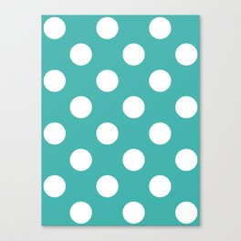 Large Polka Dots - White on Verdigris Canvas Print