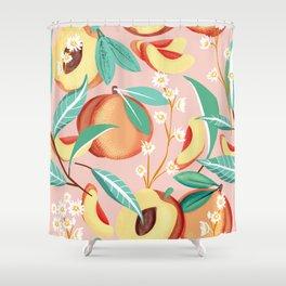 Peach Season #botanical #pattern Shower Curtain