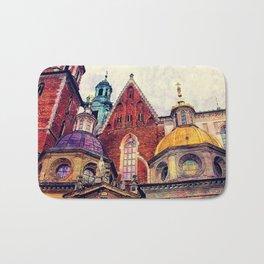 Wawel Cracow watercolor Bath Mat