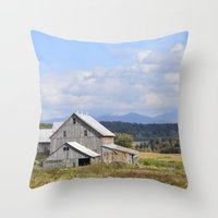 vermont Throw Pillows featuring Vermont Barn by Ashley Callan