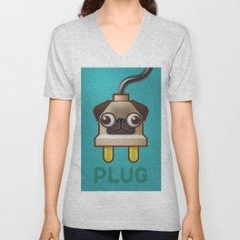 Pug Plug Unisex V-Neck