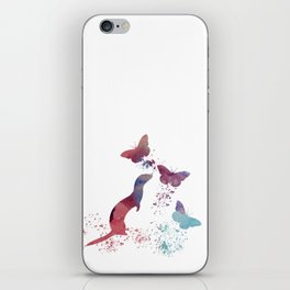 Ferret and butterflies iPhone Skin