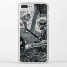 A man in the jungle, holding a gun; two men carrying a body in the background. Engraving by H. Linto Clear iPhone Case