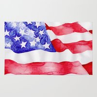 american flag Area & Throw Rugs featuring American Flag by Bridget Davidson