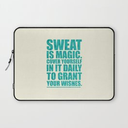 Lab No. 4 - Sweat Is Magic Cover Yourself In It Daily Gym Inspirational Quotes Poster Laptop Sleeve