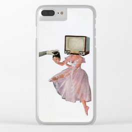 woman exchanging her head with a TV Clear iPhone Case