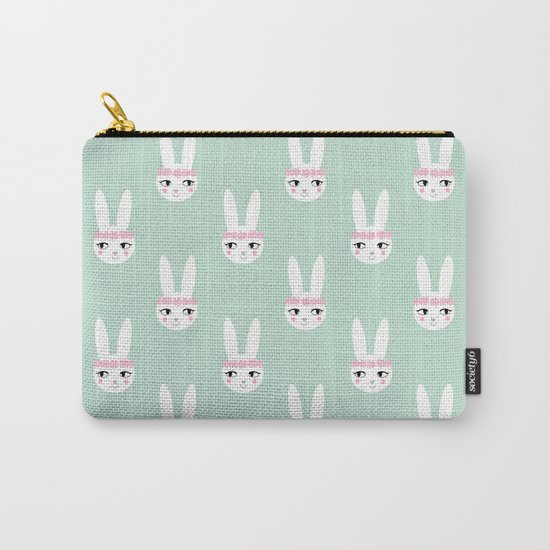 Bunny Rabbit mint spring cute character illustration nursery kids minimal floral crown Carry-All Pouch